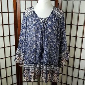Knox Rose Floral Tie Neck Bell Sleeve Blouse Top